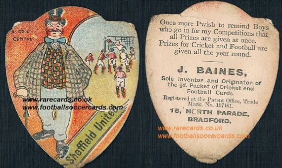1900 Baines football terms card Sheffield United a good centre dandy gent